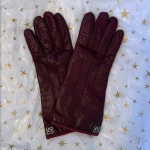 Leather and cashmere COACH purple gloves